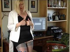 chubby english secretary slut in silk stockings and suspenders with miniskirt looking like a slut