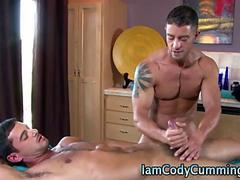Pornstar Cody Cummings jerks off this relaxed hunk