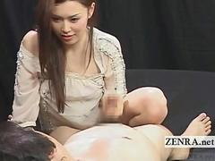Subtitled CFNM pale Japanese teasing domination play