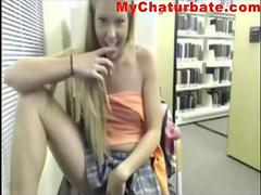 Blonde Library Webcam girl strips and masturbates