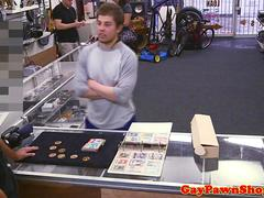 Straight pawnshop jock paid for double facial
