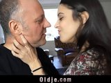 Old man gives oral sevitude and worships young dominatrix cunt