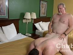 Chubby mature gets his jiggly ass nailed by a lardo
