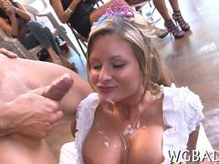 Bride gone wild sucks off a black stripper hunk