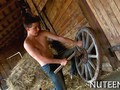 Country boy bangs a hot little floozy in the hay