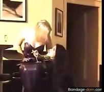 Blonde hottie gets bound and dominated by a leather clad domina