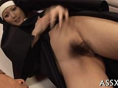 Asian nun gets her wet virgin pussy fucked from behind