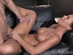 MOM Sexy horny and tanned MILF rides young studs fat cock