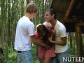 dudes have fun with a naked babe in the woods