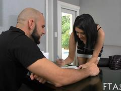 Teen brunette signs her pussy away and fucks Jmac