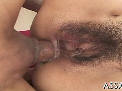 Hairy Japanese slut gets her ass fucked in uncensored close up