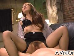 Japanese office lady gets her hairy pussy fucked on a couch