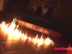 Amateur slutty witches on Helloween gang-bang