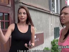 Natural girl is geeting pissed on and blasts wet slit