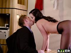 Sexy Karlee Grey in stockings bangs with her boss