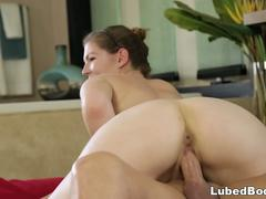 Gorgeous steamy babe giving a massage to her step dad and gets horny and wet and desires to take that huge cock inside her wet pussy