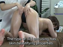 Subtitled ENF CFNF Japanese lesbian massage clinic anal care