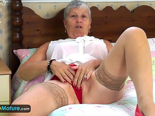 granny prefers to tease in front of nude webcam and starts playing with her favorite dildo in this compilation