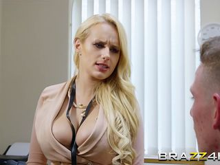 lady busty blonde boss gets her hungry pussy drilled by a horny employee