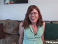 Chubby TS amateur wanks during casting