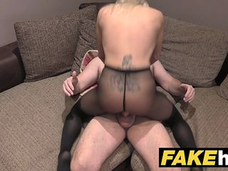 fake agent uk cute horny milf with shaved pussy sucks and fucks agent