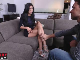 exquisite brunette angel loves these foot fetish sessions