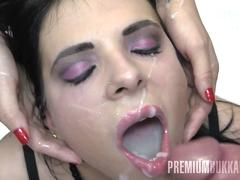 premium bukkake - elya swallows 56 huge mouthful cumshots segment