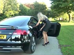 Sexy blonde babe Kathryn gets out car in high heels gives you urge to be finished off at her shoes