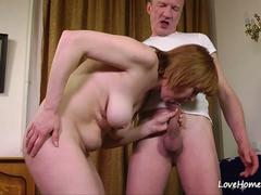 Older babe is happy to ride him passioantely