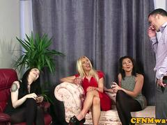 Glamour femdom deepthroats cfnm sub in group