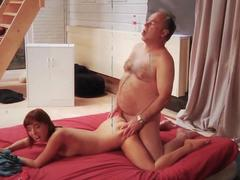 Barely Legal Teen Riding Old Man Cock and Sucking