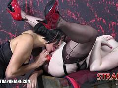 Strapon Jane fucks gorgeous curvy soft pale skinned redhead babes wet pussy in girl girl action