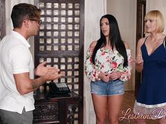 Angela White and Kate England scissoring after a hot massage