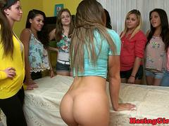 Rimmed sorority babe gets strapon fucked