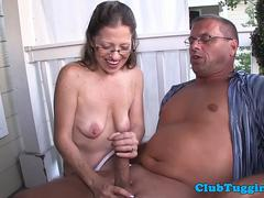 Spex mature jerking dick outdoors