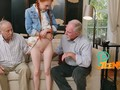 Petite redhead takes an elderly pecker into her tight pussy