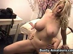 Busty amateur Blonde Ginger sucking and riding cock