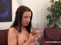 Piss Drinking - Teressa Bizarre tastes her pee and teases her pussy