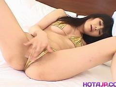 Haruna Ayase gets penis under golden thong - More at hotajp.com