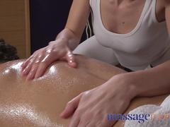 Massage Rooms Oiled masseuse gives a cock massage with her tight body