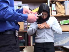 Arab chick Ella is searched and fucked deeply by horny officer