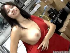 Big tit Asian cutie fucked in the back room at work