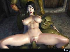 Animated gets double fucked by greend dicks