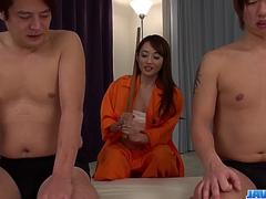 Reon Otowa fucked in her hairy love holes by two guys - More at javhd.net