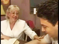 Blonde Granny Teacher Fucks Her Young Student