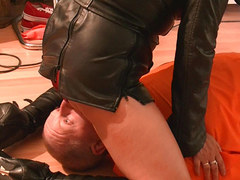 Mistress punishes slave face sitting with smell of pussy and leather then spanking his cock and ass