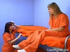 Prison bored girls decide to lick ass to each other