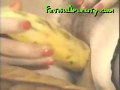 Vintage hairy pussy gets fucked with fruits and veggies