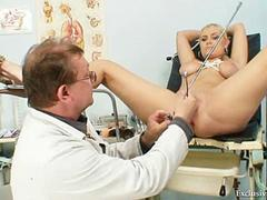 Big tits blonde Alexa Bold plays with her gyno