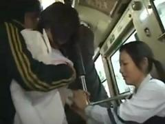 Asian mature and her friend fucked in a bus